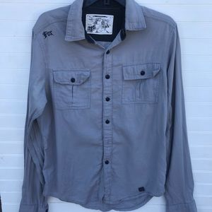 FOX Racing Button Up Gray Casual Cotton Shirt